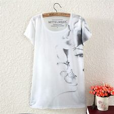 Vintage Womens Short Sleeve Sketch Half Face Graphic Printed T Shirt Blouse Tops
