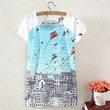 Vintage Summer Womens Short Sleeve City Kite Graphic Printed T Shirt Blouse Tops