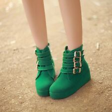 2014 kOREAN Wind Womens Suede Buckle Round Toe Wedge High Heel Shoes Boots Hot