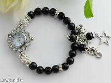 watch bracelet with charms seahorse bear star charms black beads teens womens