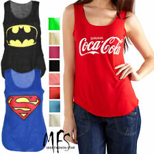 NEW WOMENS LADIES COMIC HEROES BATMAN SUPERMAN COCACOLA POLYESTER SLUB TANK TOP