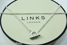 LINKS OF LONDON Sterling Silver T Bar Chain Necklace ~ 40, 45 or 50cm choice