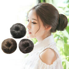 Straight Dish Hair Buns Synthetic Chignon Drawstring Clip In Bud Hair Extensions