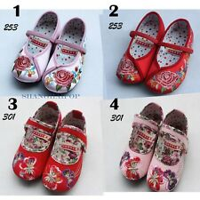 Kids Girl Mary Jane Shoes Embroidered Floral Silky Flat Dance Ballet Chinese New