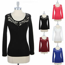 Lace Inset Long Sleeve T Shirt Top Solid Buttoned Detail Cotton Round Neck S M L