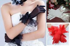 Short tulle Glove Bridal Prom party Costume Evening gloves Bow on wrist 3 colors