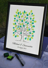 Personalised A3 Fingerprint Tree Guest Book + Inks Wedding Birthday Christening