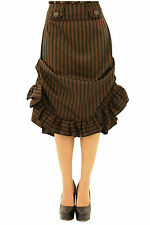 Authentic Steampunk Victorian Ruffle Hem Tucked Stripe Skirt.  Sizes 8-18