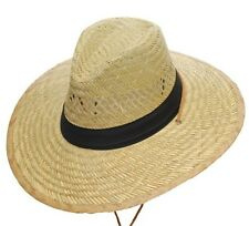 Western Cowboy Sunny Beach Straw Hat with Black Band & Chin Strap - S,M,L,XL