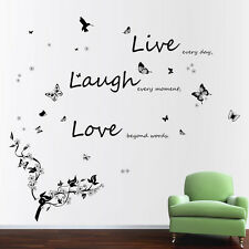 Combo Live Live Love & Butterflies Vine Flowers Wall Stickers Quote paper Decals