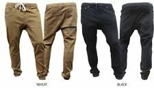 Drop Crotch Twill  pants for Men with elastic waist and drawstring Beige