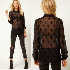 Sexy Women Blouse Cross Print Long Sleeve Shirt Stand Collar See-through Tops