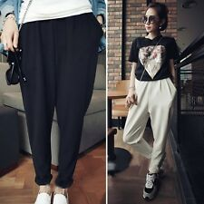 Fashion Women Summer Elastic Waist Loose Harem Pants Trousers Cropped Pants New