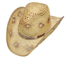 Western Women's Straw Hat w/ Diamond Holes Cowgirl Hat Brown Cowboy Hat S,M,L,XL