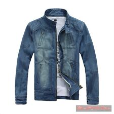 NEW MENS DENIM BIKER JEAN JACKET DESIGNER VINTAGE BLUE OUTER WEAR
