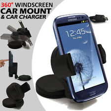 Universal Swivel In-Car Windscreen Dashboard Mount Suction Holder Cradle+Charger