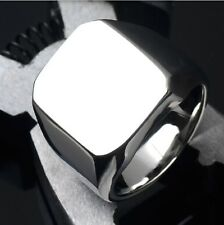 Men's High Polished Signet Solid Stainless Steel Biker Ring Men's Jewelry