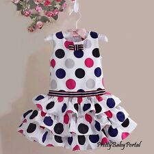 NEW GIRLS Baby Toddler's Clothes Polka Dot Cake Wedding Party Dress