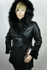 NEW GENUINE SHEEPSKIN BLACK SUEDE SHEARLING LEATHER FUR HOOD COAT JACKET S-5X