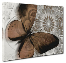 Abstract Floral Butterfly Canvas Print Wall Art Blends of Brown Unique Canvas