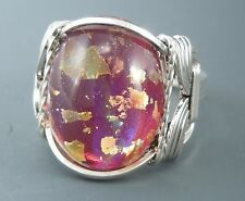 Sterling Silver Wire Wrapped Rose Foil Glass Cabochon Ring