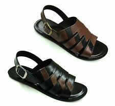 MENS NEW LUCINI CROSS LEATHER MULE COGNAC/BLACK SUMMER WEAR SANDALS