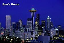 Seattle City at night personalized poster wall art home decor made in the USA