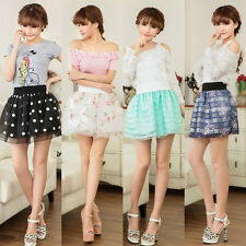 Fashion Women's High Waist Pleated Floral Short Mini Skirt Skater Flared Dress