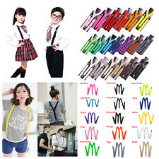 NEW 15 Colors Mens Womens Clip-on Suspenders Elastic Y-Shape Adjustable Braces