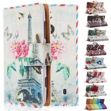 Flip Printed Leather Wallet Card Shell Pouch Stand Case Cover fr Nokia Lumia 520