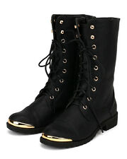 Nature Breeze Lug-31 New Women Gold Plate Lace Up Mid Calf Military Combat Boot