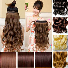 """New 18""""-24"""" Long Curly Straight Women Clip in on  Wavy Synthetic Hair Extension"""