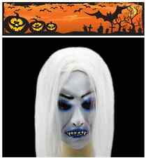 Horrible Toothy Zombie Ghost Mask Scary Halloween Emulsion Skin With Hair