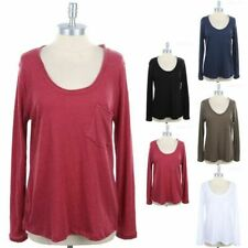 Melange Long Sleeve Scoop Neck Top with Front Chest Pocket Casual Cotton S M L