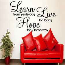 Learn Live Hope' Wall sticker, New design, Quote, Transfer, 4 sizes available