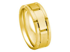 18K YELLOW GOLD ROLEX INSPIRED BOX CUT 8mm COMFORT FIT WEDDING BAND