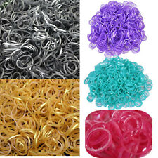 600x Metallic Gold Silver Rainbow Color Rubber Loom Bands Kit + Clips + Hook