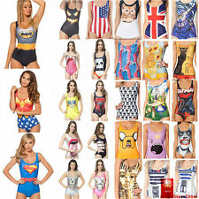 HOT Women's Girl Costume Swimwear Printing One-Piece Monokini swimsuit Beachwear