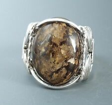 Sterling Silver Bronzite Wire Wrapped Ring