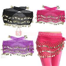 3 Rows  Coins Belly Dance Wear Costume Hip Skirt Scarf Wrap Belt Waistband
