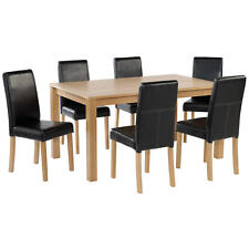 Oak Finish Dining Table and Chair Set 6 Leather Seats | Black Brown Red Cream