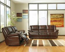 ASHLEY CONTEMPORARY COFFEE TOP GRAIN LEATHER RECLINING COUCH SOFA & LOVESEAT SET