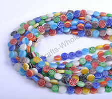 Mixed Flat Round MILLEFIORI Glass Loose Spacer BEADS 6MM 8MM 10MM 12MM