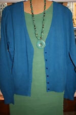 King Louie Jacket v Neck Buttons Blue Green / Beige Teal Charge New Label