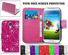 Shiny Bling Diamond PU Leather Wallet Case Cover For Samsung Galaxy S4 & S4 mini