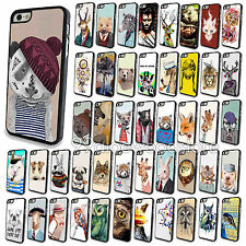 Painted Various For Apple iPhone 4 4S 5 5s 5c Animals Hard Back Case Cover Skin