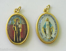 Gold Finish 2 Sided Enamel Medal Miraculous / St Benedict Religious Gift