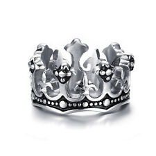 Vintage Women Men Silver Black Crown Stainless Steel Unisex Ring US Size 8-13