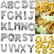 "40"" Silver Gold Foil Balloons Alphabet Letters Numbers Birthday Wedding Party"
