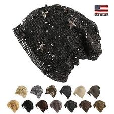 Floral Flower Sequin Stitched Slouchy Mesh Beanie Packable Hat Womens Summer